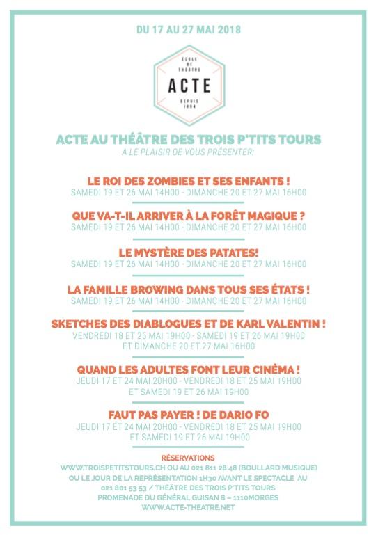 ACTE au théâtre des Trois P'tits Tours