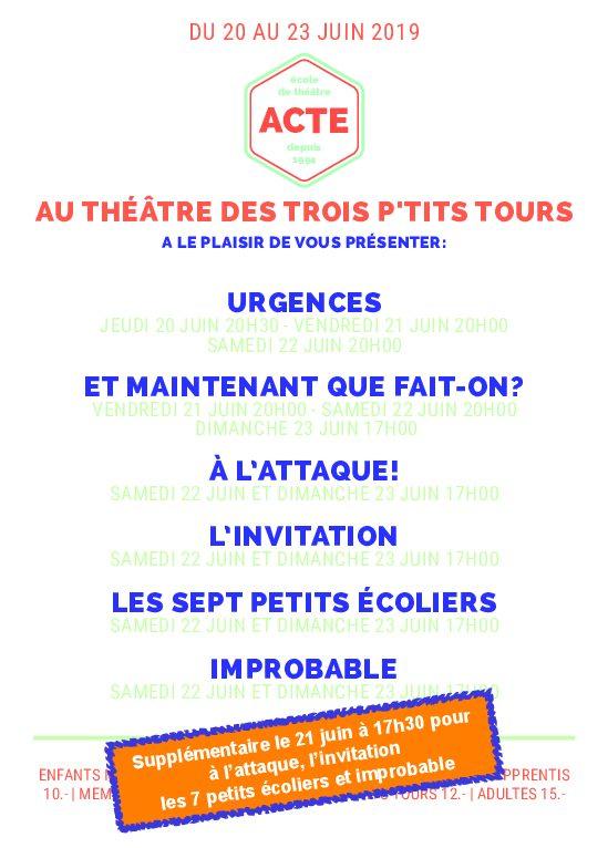 ACTE au Théâtre Trois P'tits Tours